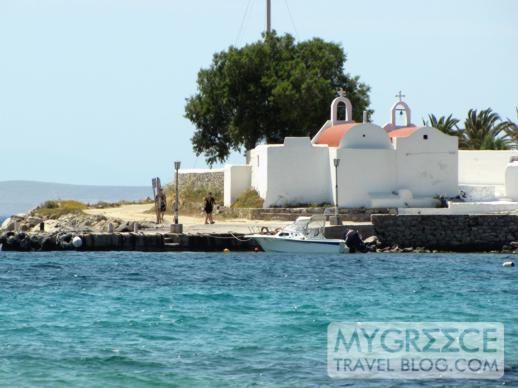 Two churches at Agios Ioannis beach on Mykonos