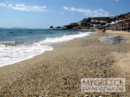 Waves washing ashore at Agios Ioannis beach Mykonos