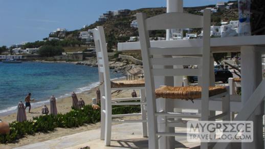 Hippie Fish restaurant and bar at Agios Ioannis beach on Mykonos