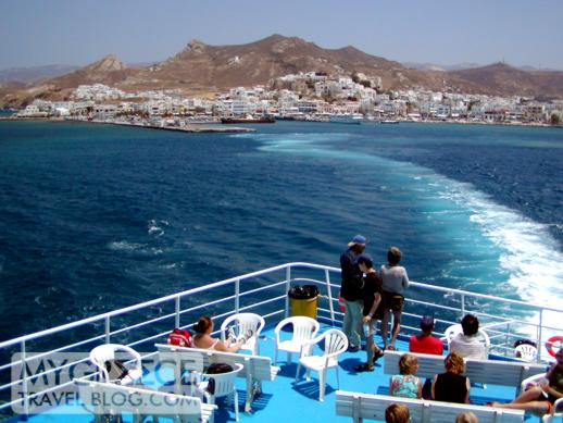 Ferry departing Naxos port