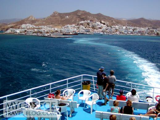 Ferry departing Naxos port