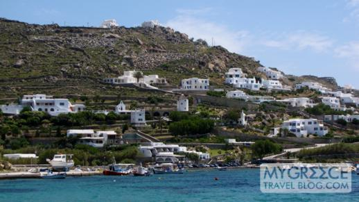 hillside homes and hotels at Ornos bay on Mykonos
