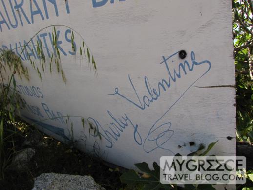 Shirley Valentine sign above Agios Ioannis beach Mykonos