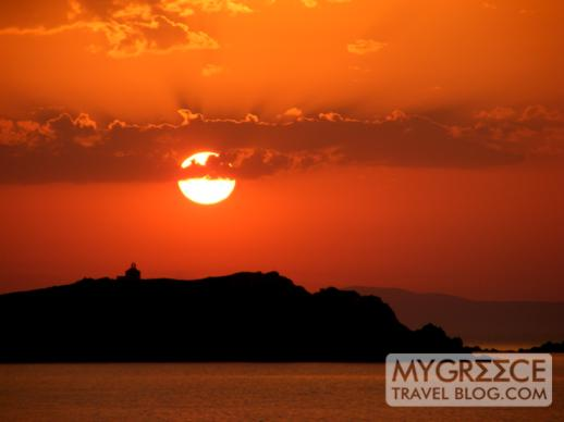sunset viewed from Mykonos