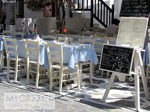 a taverna at Goumenio Square in Mykonos Town