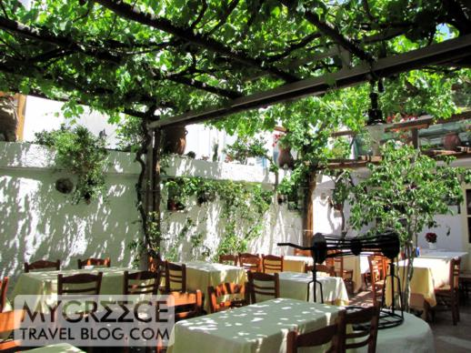 a vine covered restaurant terrace in Mykonos Town