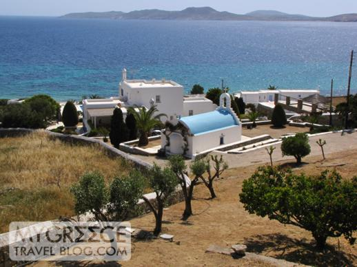 a blue domed church at Agios Ioannis Mykonos