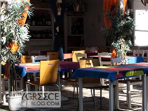 a cafe in Mykonos Town