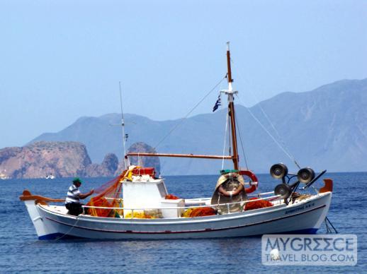 Milos fisherman mending nets