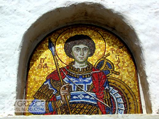 a mosaic at a church on Ios
