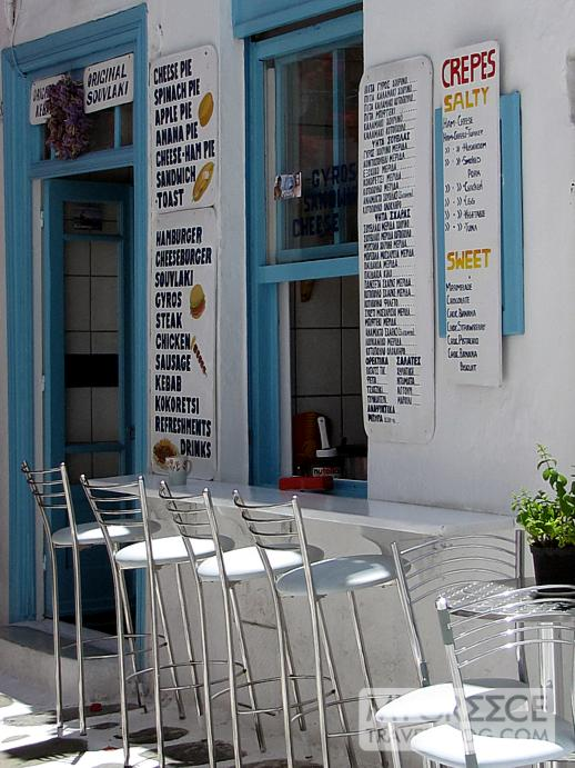 a fast food cafe in Mykonos Town