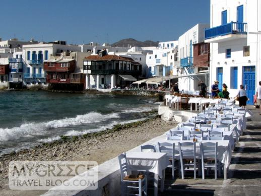 Restaurants at Little Venice in Mykonos