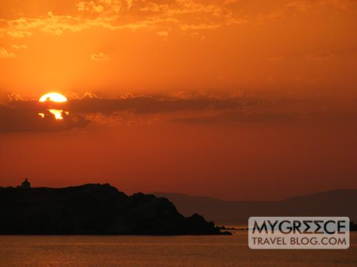 sunset behind Agios Georgios island off Mykonos