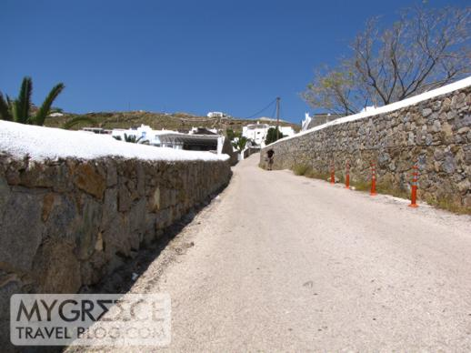 road to Ag Ioannis beach on Mykonos
