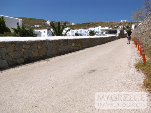 the long road down the hill to Ag Ioannis beach on Mykonos