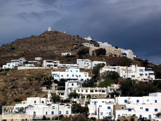 Buildings on the mountainside above Gialos port on Ios