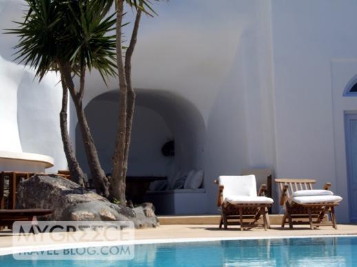 Swimming pool terrace in Firostefani Santorini