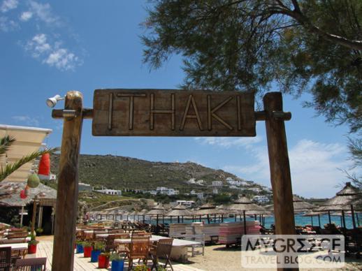 Ithaki taverna at Ornos beach on Mykonos