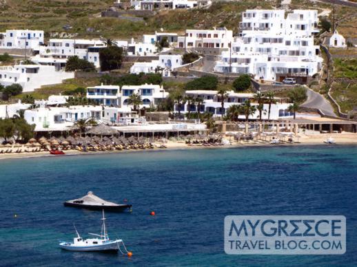 Ithaki restaurant complex on Ornos beach Mykonos