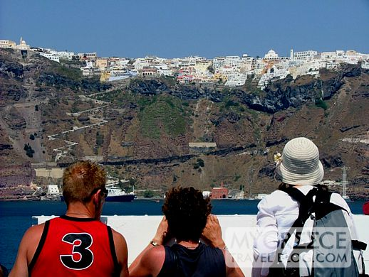 Blue Star ferry below Fira on Santorini