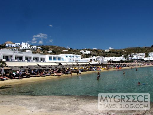Beachside bars and restaurants and Platis Gialos Mykonos