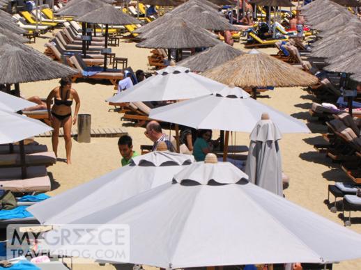 Umbrellas on Platis Gialos beach on Mykonos
