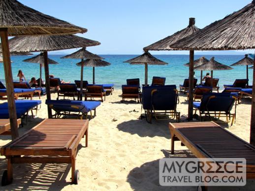 Sunbeds on Platis Gialos beach on Mykonos