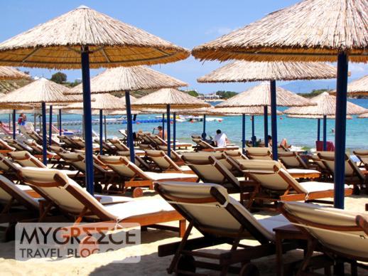 Sunbeds on Platis Gialos beach