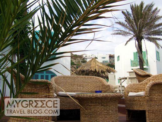A beachside bar at Platis Gialos Mykonos