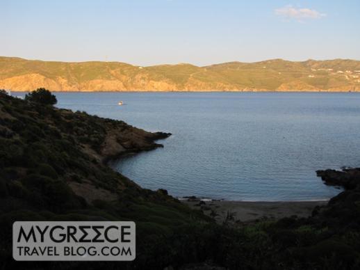 a cove below Kiki's Taverna at Agios Sostis beach Mykonos