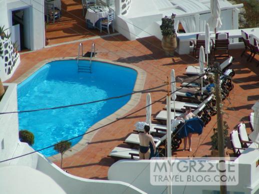 a swimming pool in Firostefani on Santorini