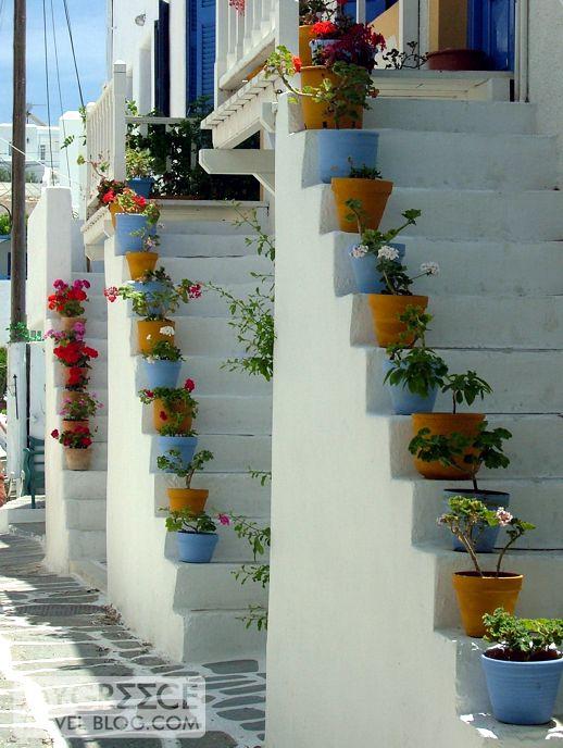 a street in Naoussa fishing village on Paros