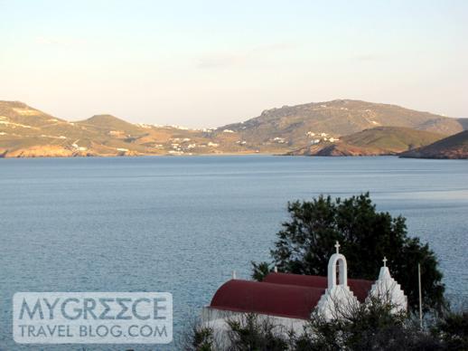 churches above Agios Sostis beach Mykonos