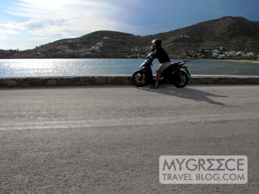 man on a motorcycle at Gialos port