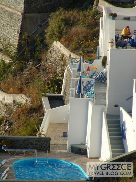 a swimming pool in Fira on Santorini
