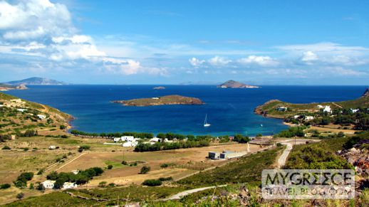 view from above Agriolivadi beach on Patmos