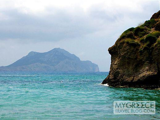 Nikouria Island across Egali Bay on Amorgos