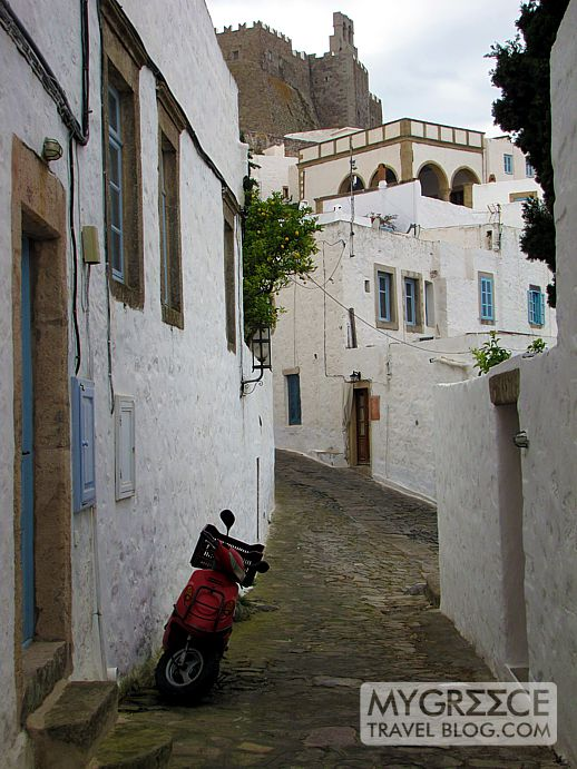 a street in Chora on Patmos