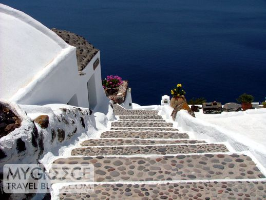 steps at a hotel in Oia on Santorini