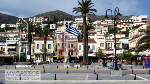 town square in Vathi on Samos