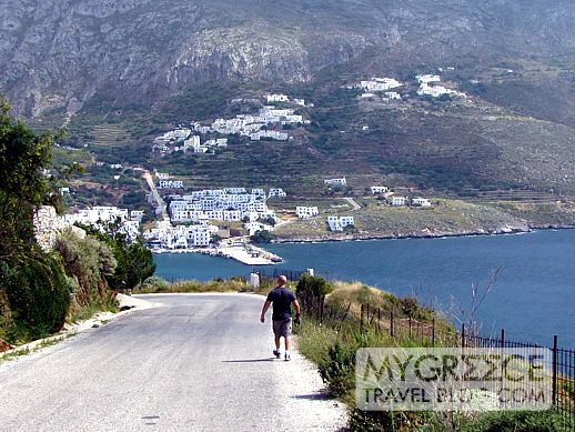 a road on Amorgos overlooking Egali