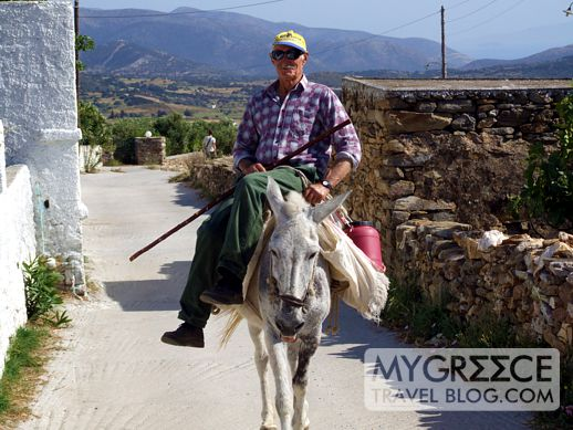 man on a donkey in Naxos