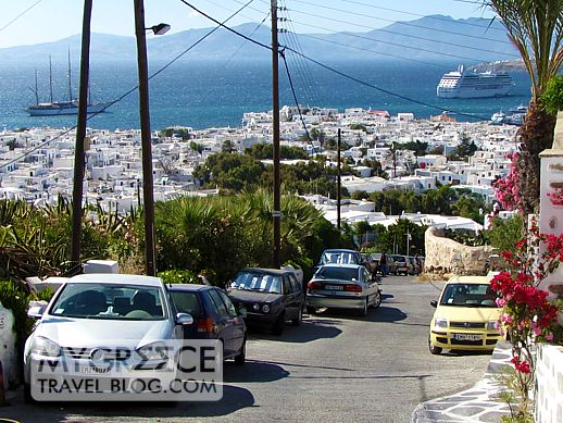 a road in the Fine Arts District on Mykonos