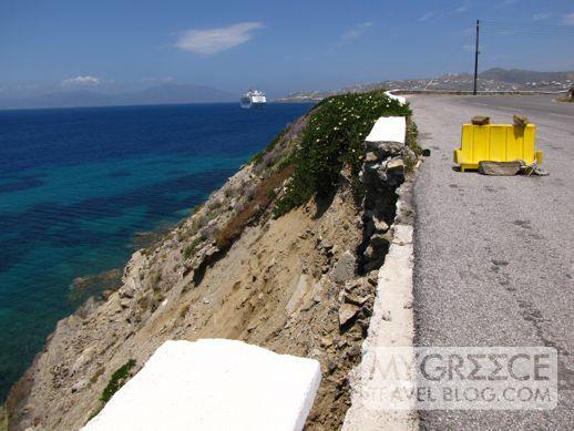 Mykonos road erosion