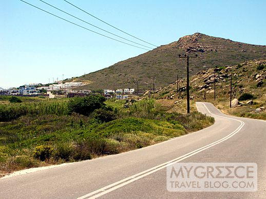 The road from Stelida to Naxos Town on Naxos