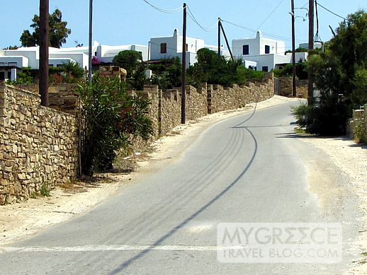 A road to Agios Prokopios beach on Naxos