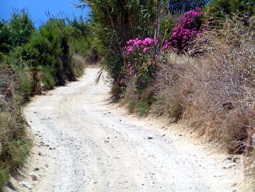 A dirt road near Plaka beach on Naxos