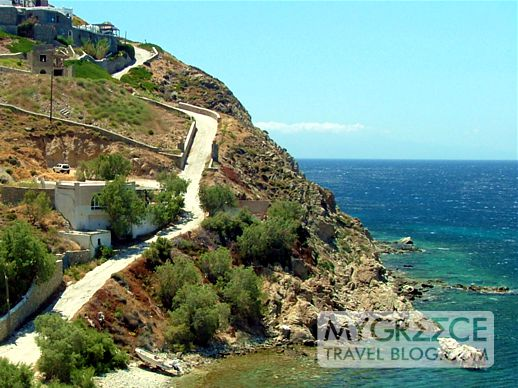 Steep road at Elia beach Mykonos