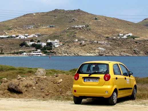 a car near Kalafatis beach on Mykonos island