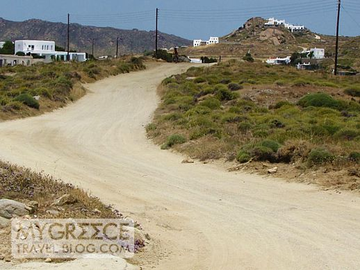 dirt road near Kalafatis beach Mykonos